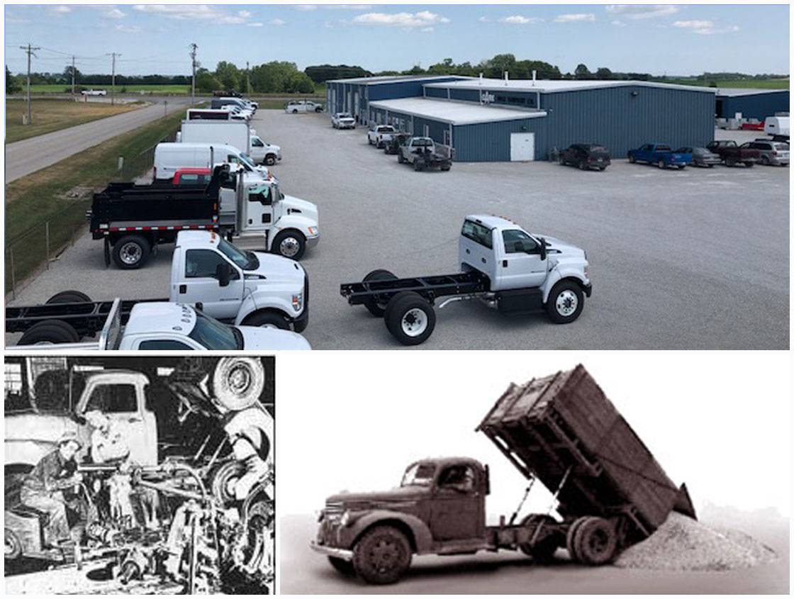A collage of pictures, Clark Trucking exterior, Bud Harsh and an old dumptruck